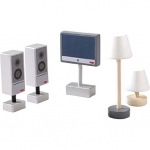 LITTLE FRIENDS - ACCESSOIRES VOOR POPPENHUIS TELEVISIE EN LAMPEN OUT20