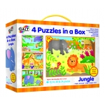 4 PUZZLES IN A BOX - JUNGLE NIEUW 2019